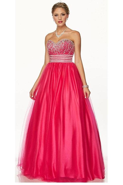 Fuchsia Strapless Jeweled Ballgown Size L