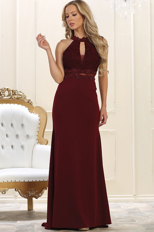 Burgundy Lace Halter Top Dress Size 6, 10