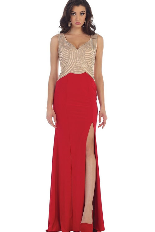 Red Beaded Long Dress Size 4, 6