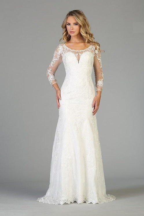 Off White Long Sleeve Fit & Flare Bridal Gown