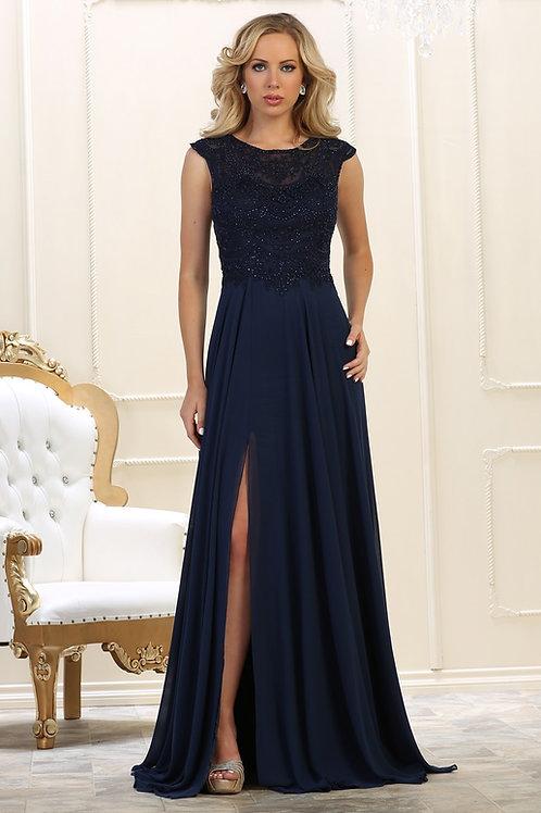 Navy Beaded Long Dress Size 12, 16