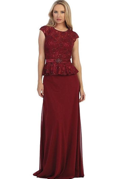 Burgundy Short Sleeve Long Dress Size XL