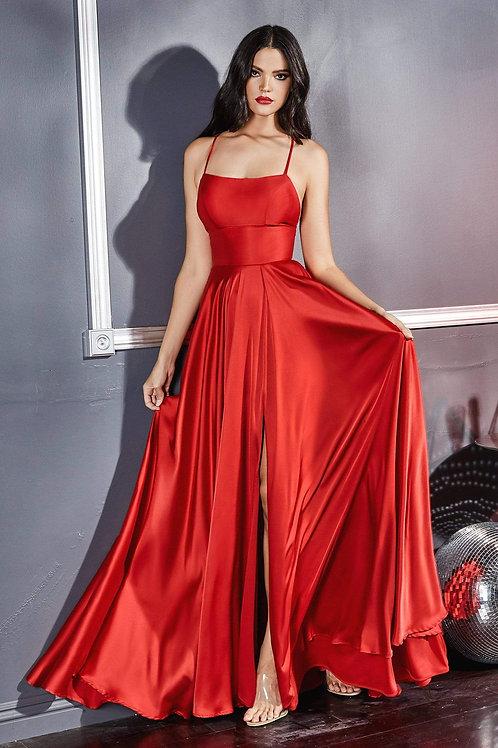 Red Satin Long Dress Size 8