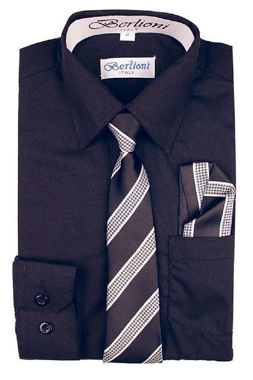 Boys Black Dress Shirt Tie & Hanky Set