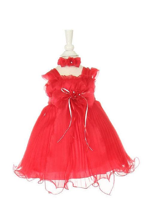 Baby Girls Red Organza Short Dress Size 0-6 Months