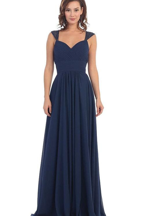 Navy Chiffon Long Dress Size 26