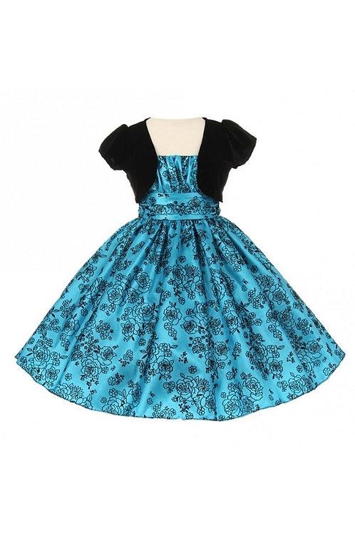 Girls Turquoise & Black Velvet Short Dress With Velvet Jacket Size 6