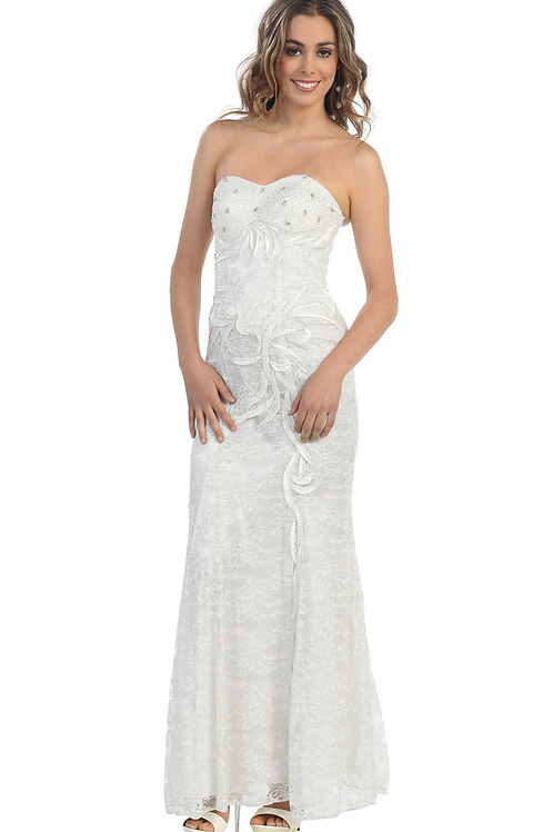 Ivory Strapless Long Dress Size 4