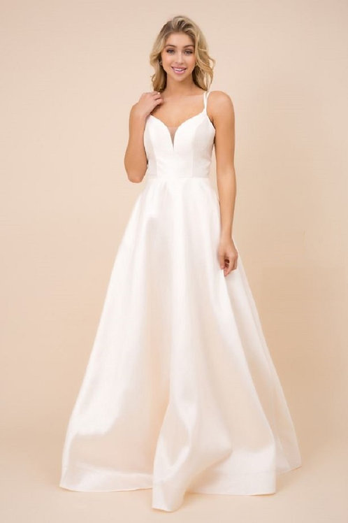 Cream Satin A-Line Bridal Gown Size 8