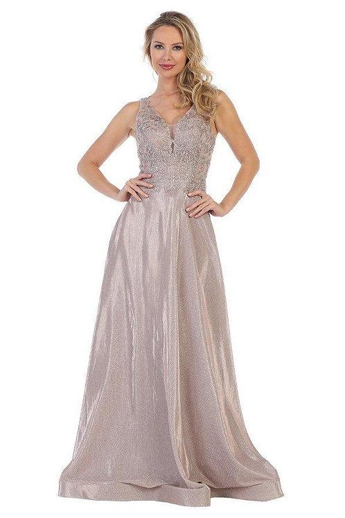 Mauve Metallic Lace Applique Long Dress Size S