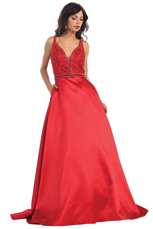 Red Beaded Long Dress Size 4, 10