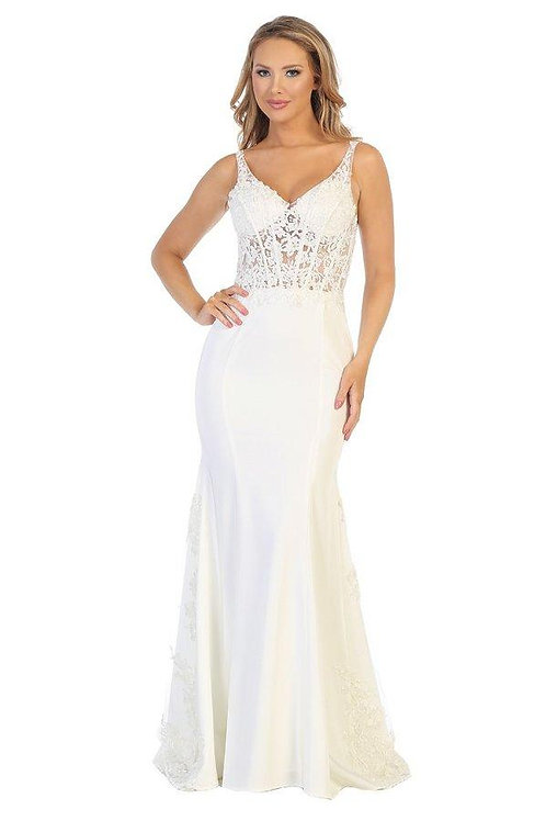 Off White Lace Fit & Flare Bridal Gown Size S