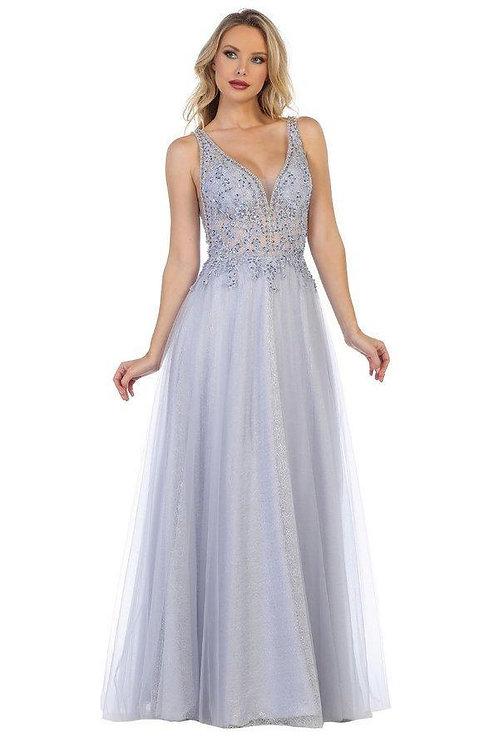 Pewter Metallic Long Dress Size M