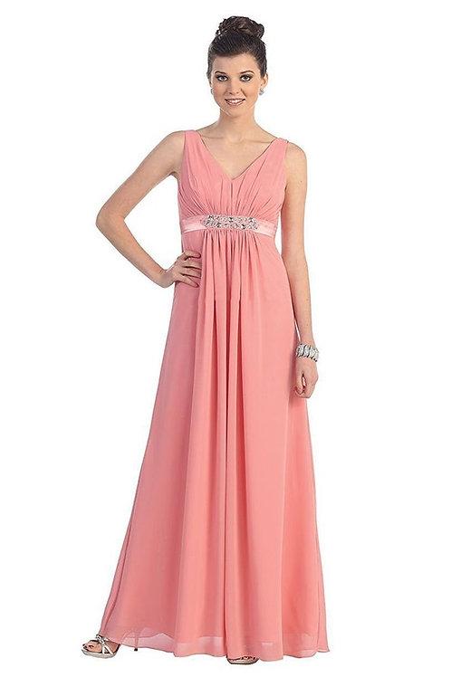 Dusty Rose Belted Long Dress Size 22