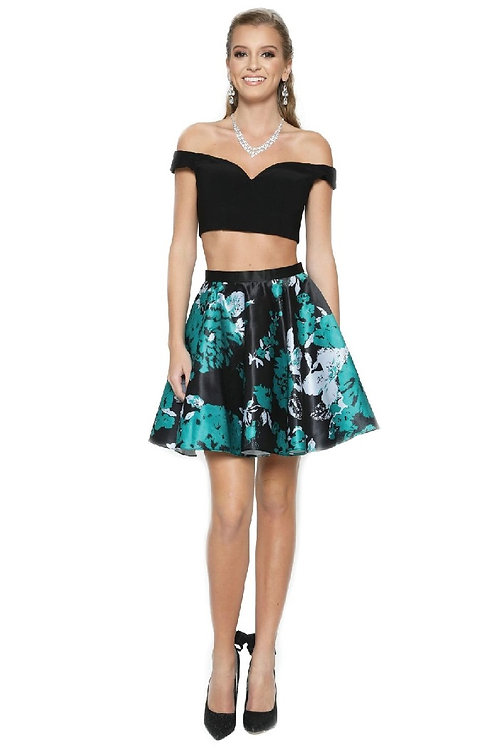 Green Floral Two Piece Short Dress Size XS