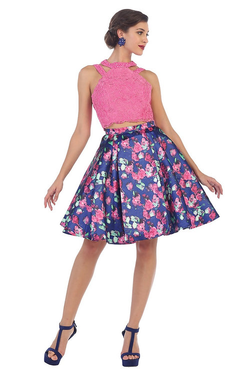 Hot Pink Two Piece Floral Short Dress Size 6, 8