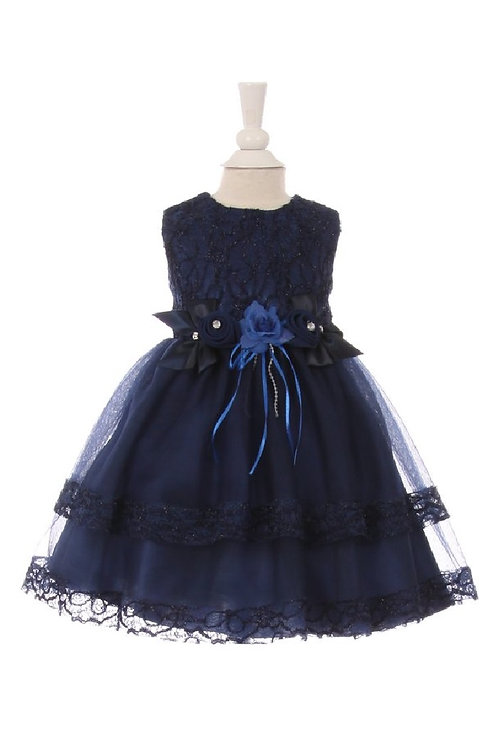 Baby Girls Navy Lace Dress Size 6-12 Months