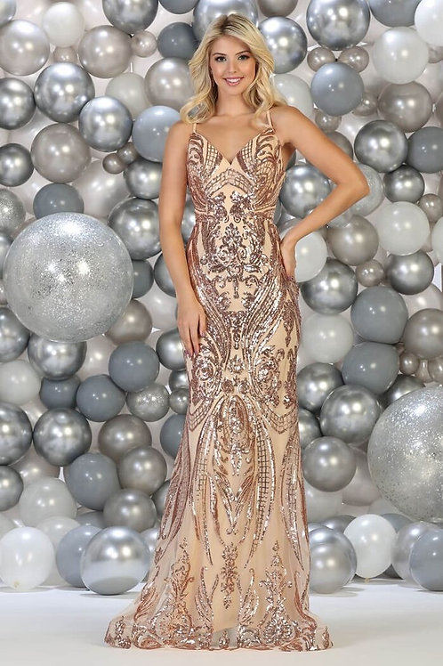 Rose Gold Sequins Long Dress Size 10
