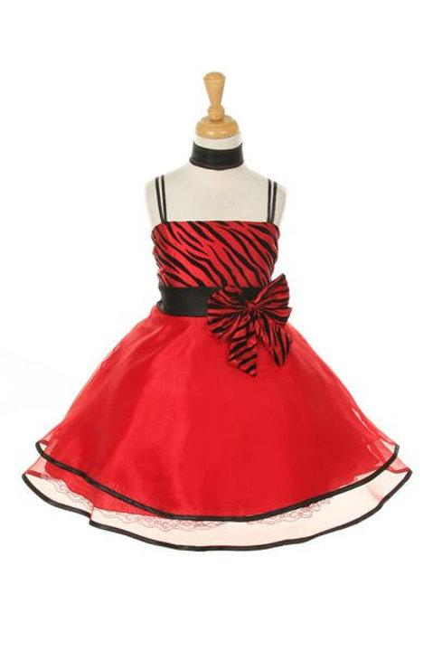 Girls Red Zebra Print Short Dress Size Girls 10
