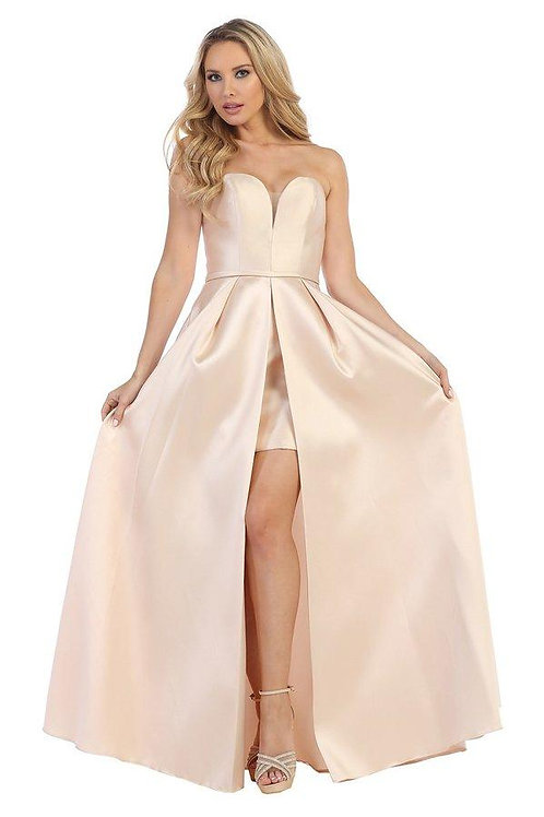 Champagne Satin Strapless Bridal Gown Size XS