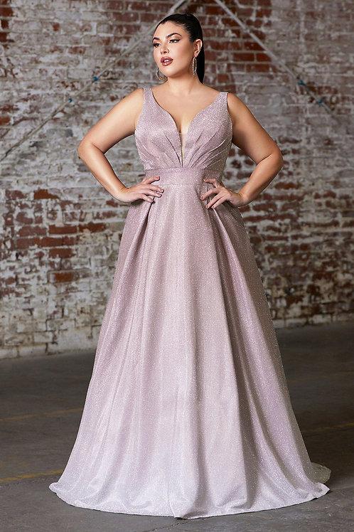 Mauve Ombre Glitter Long Dress Size 4X