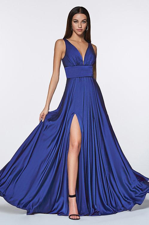 Royal Blue Satin Long Dress Size 14