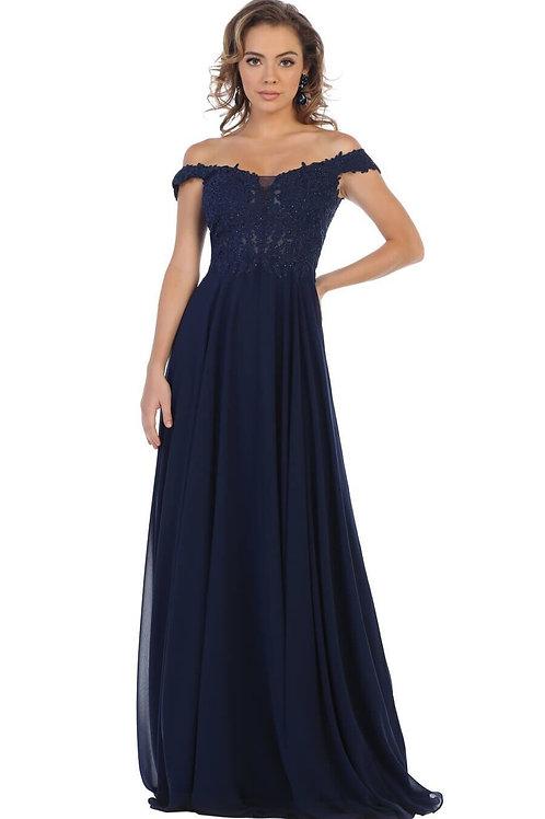 Navy Lace Top Long Dress Size 10