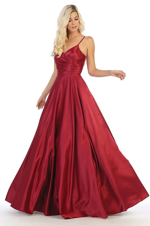 Burgundy Satin Long Dress Size 18
