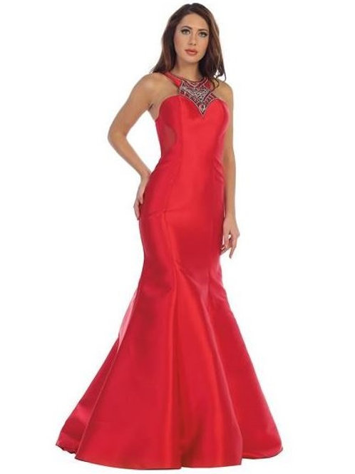 Red Halter Top Jeweled Long Dress Size S
