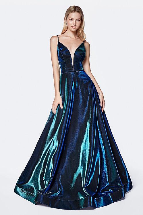 Teal Metallic Long Dress Size 10