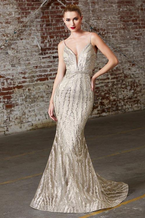 Champagne Glitter Long Dress Size 10