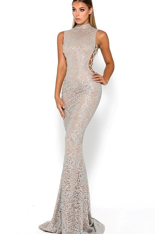 Gold Glitter Long Dress With Lace Up Sides Size 0, 2