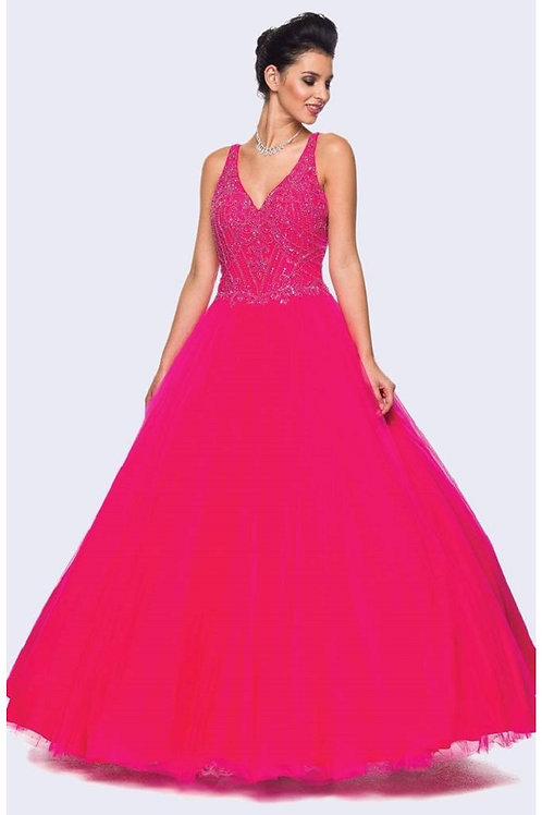 Fuchsia Beaded Ball Gown Size L