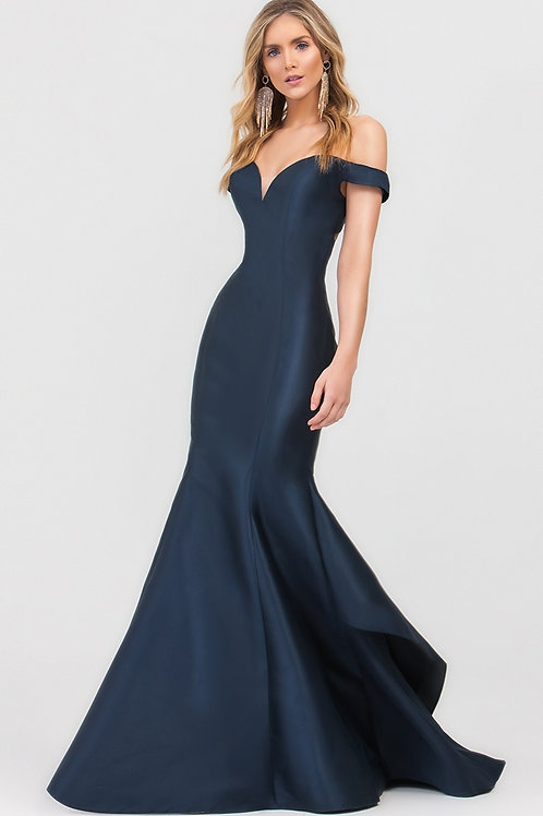 Navy Off Shoulder Fit & Flare Long Dress Size 2
