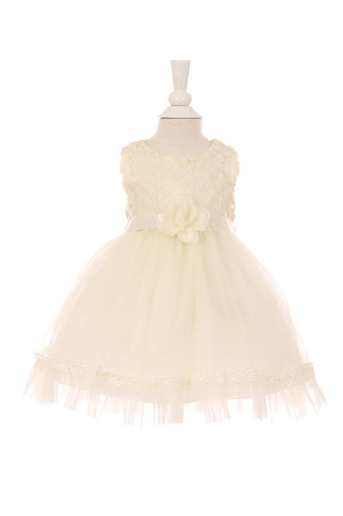 Baby Girls Ivory Floral Lace Dress Size 2T