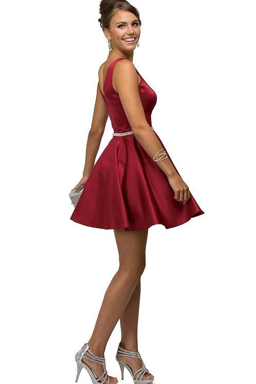 Burgundy Belted Short Dress Size L