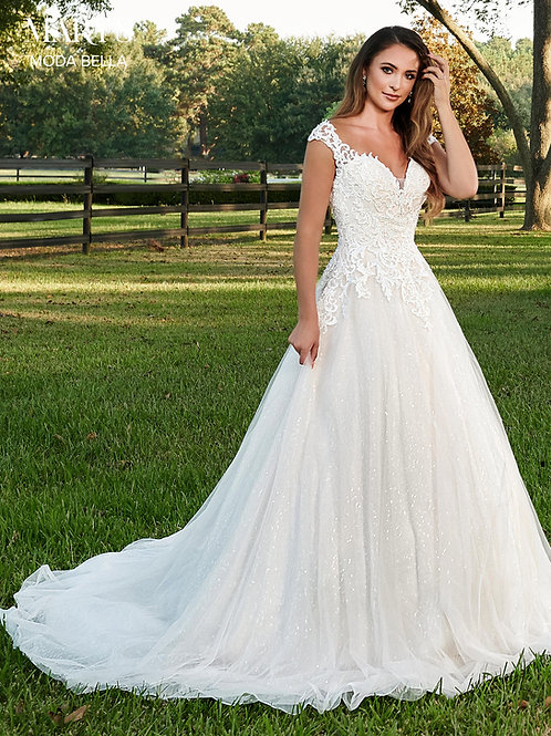 White Lace Applique Bridal Gown Size 8