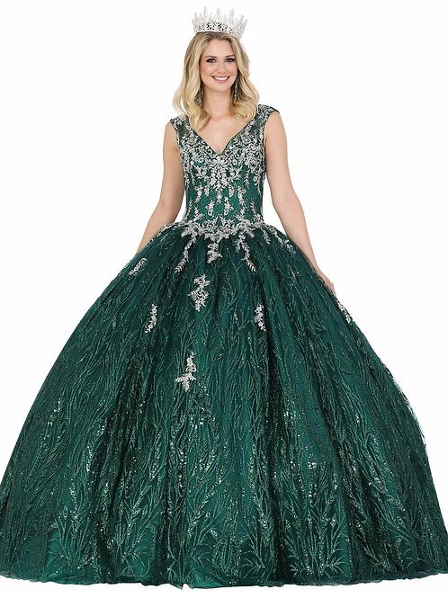 Hunter Green & Silver Ball Gown Size 3XL
