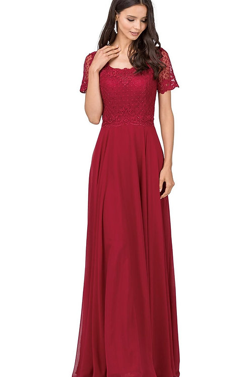 Burgundy Short Sleeve Long Dress Size 2X, 4X