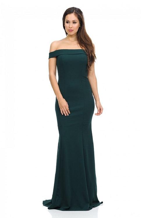 Hunter Green Off Shoulder Long Dress Size M