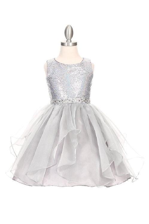 Girls Silver Sequin Short Dress Size 10