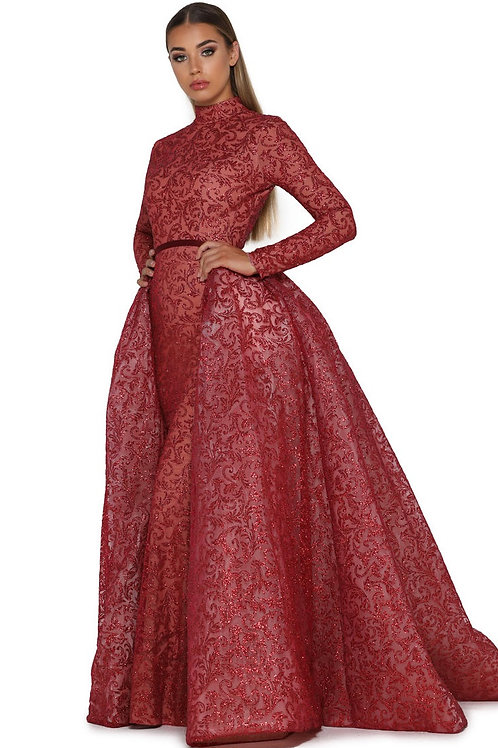Red Glitter Long Dress With Detachable Train Size 0