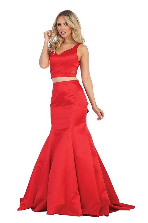 Red Two Piece Long Dress Size 2XL