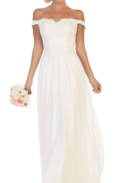 Ivory Off Shoulder A-Line Bridal Gown
