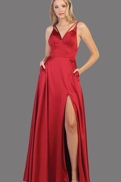 Burgundy Satin Long Dress Size 8