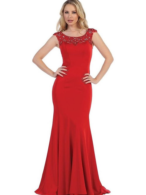 Red Fit & Flare Long Dress Size S