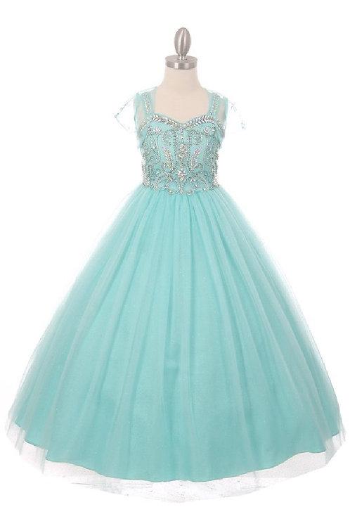 Girls Aqua Embellished Long Dress Size 12
