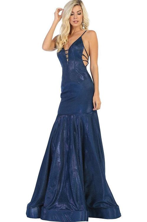 Navy Metallic Long Dress Size 2