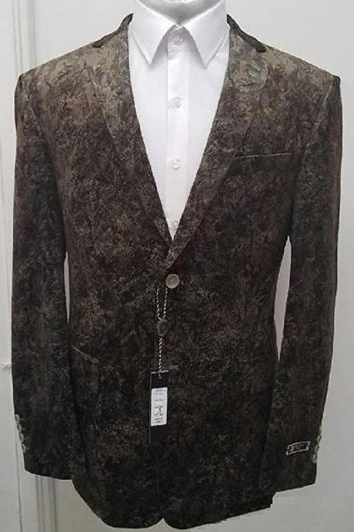 Olive Velvet Patterned Jacket Size 48R