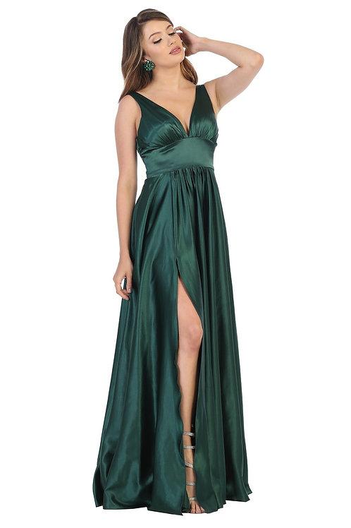 Hunter Green Satin Long Dress